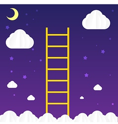 Ladder to sky with cloud and star vector image