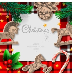 Merry Christmas template with rocking toys and vector image