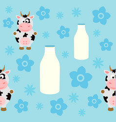 seamless background card with funny cow vector image vector image