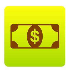 bank note dollar sign brown icon at green vector image vector image