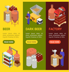 equipment and beer production banner vecrtical set vector image vector image