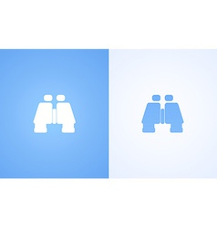 Flat Binoculars on white and blue backgrounds vector image
