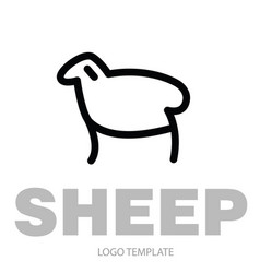 linear stylized drawing of sheep or ram vector image vector image