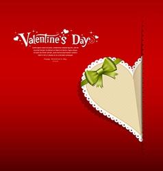 Paper heart and green ribbon vector image