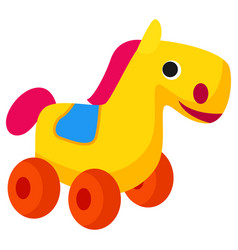 plastic colorful horse toy on wheels isolated vector image