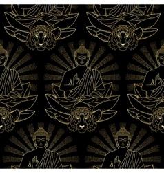 Seamless Pattern of Gold Buddha Lotus and Tiger vector image vector image