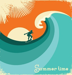Surfer and sea waveRetro poster vector image vector image