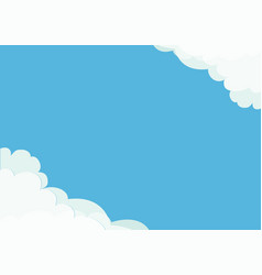 white cloud in corners frame template fluffy vector image vector image