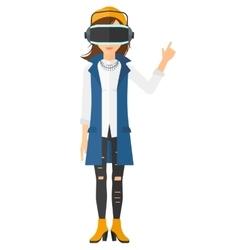 Woman wearing virtual reality headset vector