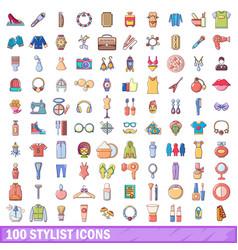 100 stylist icons set cartoon style vector image