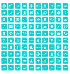 100 sushi bar icons set grunge blue vector