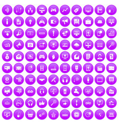 100 web and mobile icons set purple vector image