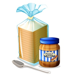 A bread with a peanut butter and a spoon vector