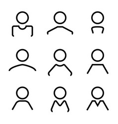 abstract avatar human user flat line icons set vector image