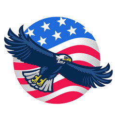 American bald eagle with united states flag vector