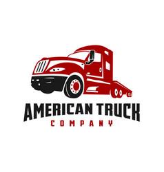 american truck transportation logo vector image