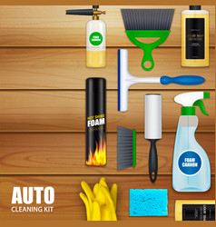 Auto cleaning set background vector
