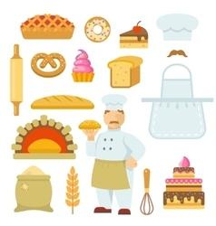Bakery Decorative Flat Icons Set vector