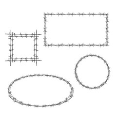 Barbed wire various frame realistic set vector