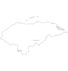 Black White Honduras Outline Map vector image