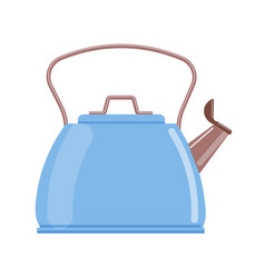Blue teapot kettle isolated on white background vector