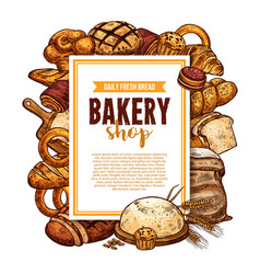 Bread and pastry sketch frame for bakery banner vector