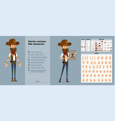 Cartoon cowboy or sheriff character big set vector
