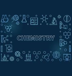 chemistry blue outline horizontal frame vector image