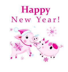 Christmas card with pink piglets on a white vector