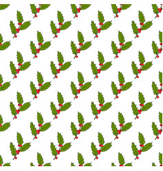 Christmas seamless pattern with holly branch vector