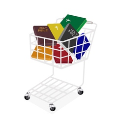 Colorful Holy Bibles in A Shopping Cart vector