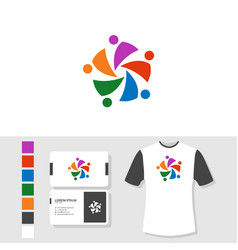 community logo design with business card and t vector image