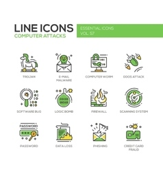 Computer Attacks - line design icons set vector