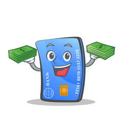 credit card character cartoon with money vector image