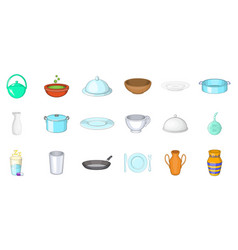 crockery icon set cartoon style vector image