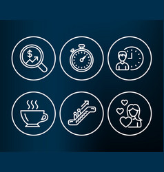 Currency audit escalator and working hours icons vector