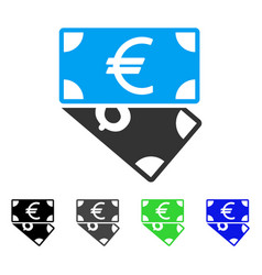 Euro and dollar banknotes flat icon vector