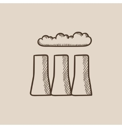 Factory pipes sketch icon vector