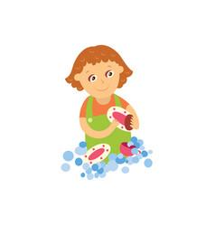 falt girl washing dishes isolated vector image