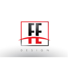 Fe f e logo letters with red and black colors and vector
