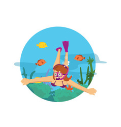 female diving in the ocean swimming with fish and vector image
