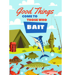 fishing banner with fish catch and fisherman camp vector image