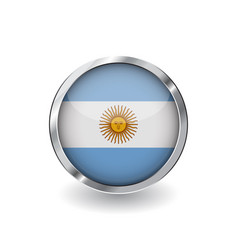 flag of argentina button with metal frame and vector image