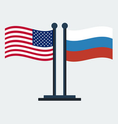 flag of united states and russiaflag stand vector image