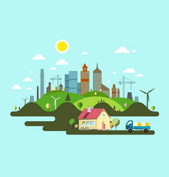 flat design island with family house and city vector image
