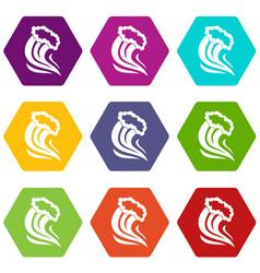 Foamy splash icon set color hexahedron vector
