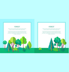 forest web banner with trees and bushes vector image