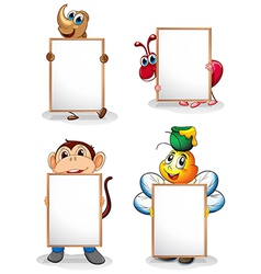 Four whiteboards in front of the four animals vector image
