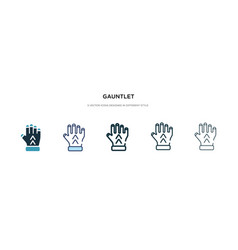 Gauntlet icon in different style two colored and vector