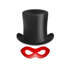 Gentleman hat and eye mask in red design vector